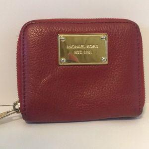Michael Kors Red Small Zip Wallet